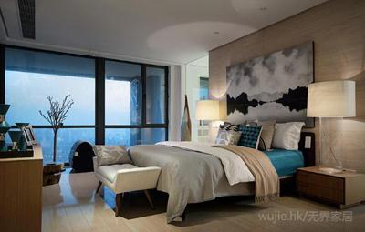 卧室区域选用木饰面背景墙,床头大号的双高座台灯,灰色山水印象挂画