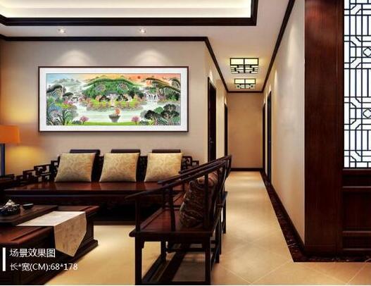 客厅挂山水画让您尊享别墅生活