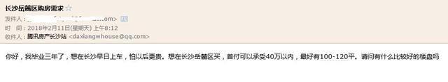 Q友买房:大学毕业三年想安家长沙 求首付40万内房源