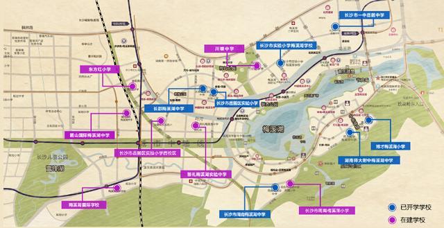 梅溪湖片区学校规划图(图片来源于网络)-长沙高铁新城和梅溪湖新