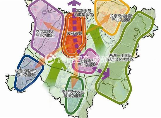天府新区处于成都市主城区南偏东方向,成立于2010年,人口预测600万人图片