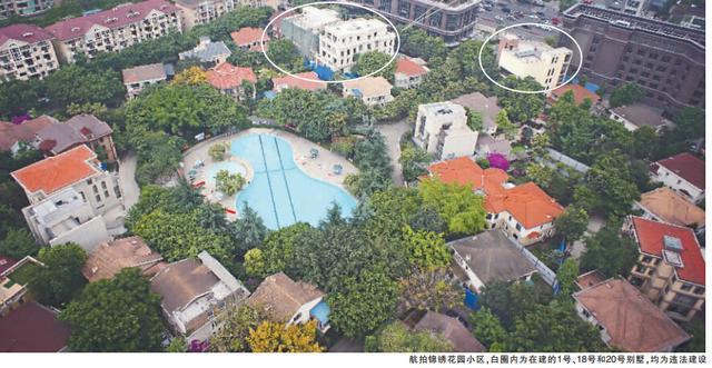 锦绣花园小区内75栋别墅中,违建大约有30栋,在建的1号,18号和20号前