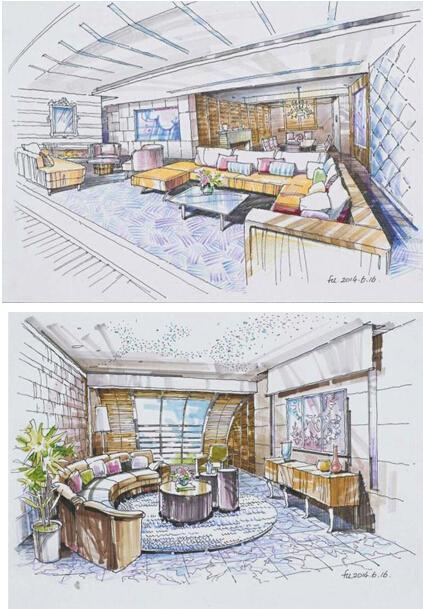 鹅岭峰室内装修手绘图