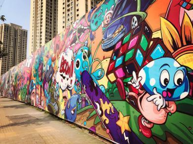 重庆惊现百米涂鸦街 用艺术为建筑写意灵魂
