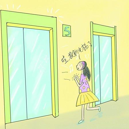 电梯卡通矢量图