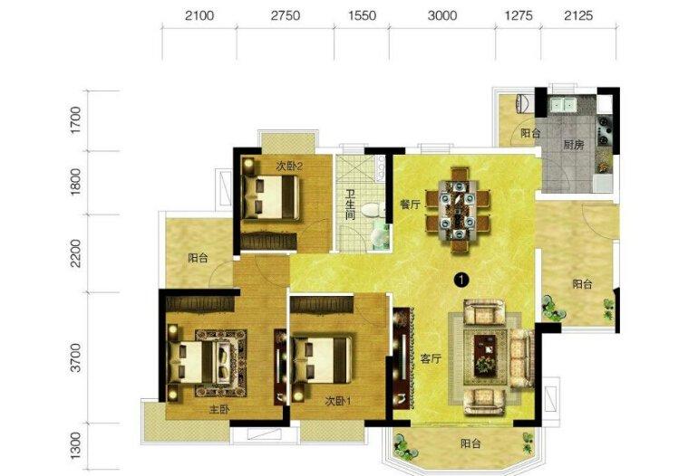 [户型点评] 116方三房高空间利用率 简约时尚采光充足