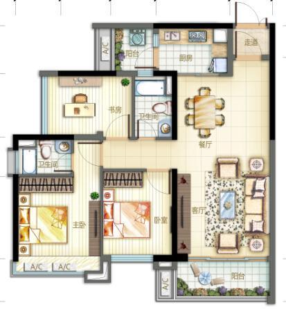[户型点评] 佛山新城90方实用三房 纯南向阳光满屋