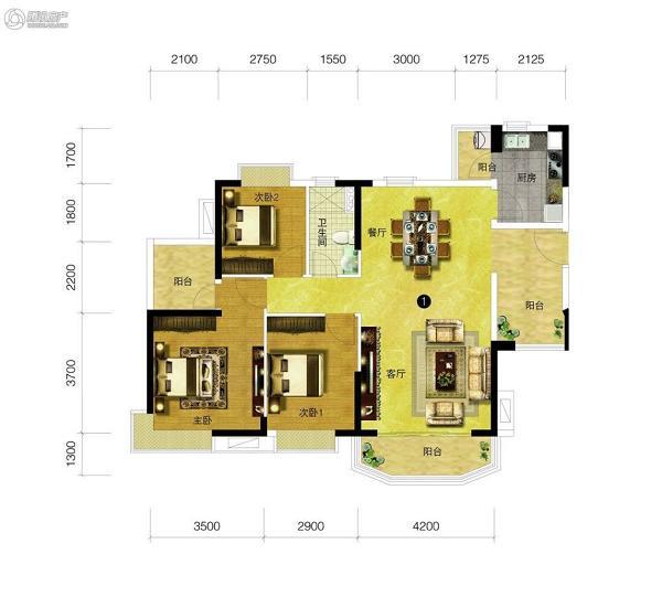 [户型点评] 116平阔绰三房 拥四阳台健康舒适