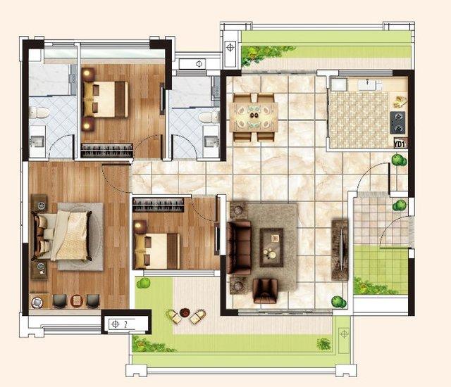 126方三房两厅两卫户型