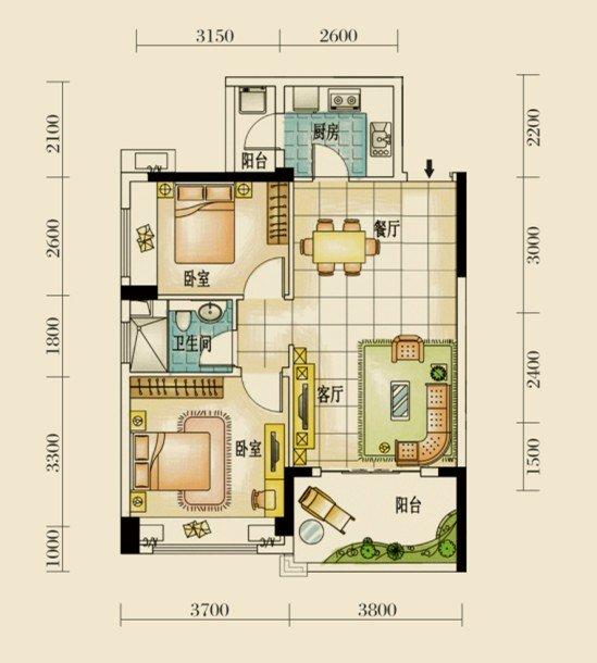 咨询电话:400-700-1234 转 26053 户型特点: 1、科学规划,实用主义空间布局,取悦生活; 2、动静分区,功能配置合理,舒适百分百; 3、双阳台设计,清雅明亮,生活便捷随心; 4、灵动飘窗设计,阳光园林美景肆意造访。 小编点评:该户型为75平米2房2厅1卫单位,纯南向设计,通风透气,非常适合居住。该户型的餐厅、客厅与阳台相连,视野开阔,空间得到充分利用;卧室均采用全明大飘窗设计,采光一流;3.