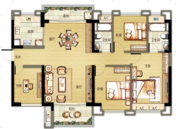[户型点评] 128方双阳台舒适四房 主卧可南北对流