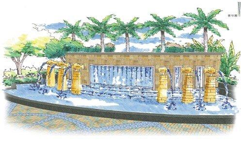 社区入口手绘稿,恬淡清新的地中海园林
