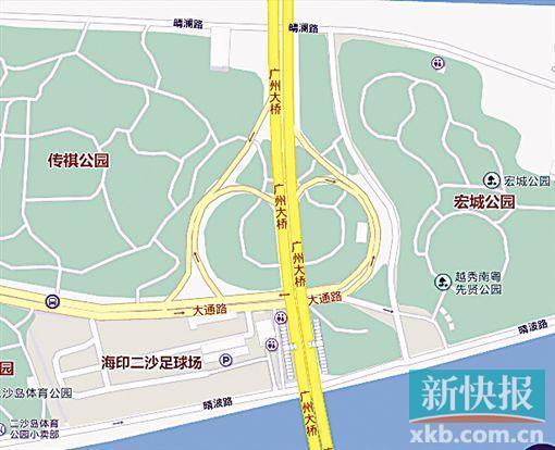 现状:二沙岛西往东的车辆进入广州大桥要经大通路.