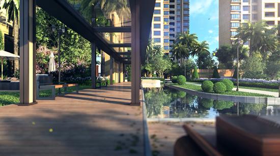 ▲【风雨连廊示意图】-117平创意五房 绿地珑玥府为居住设计生活