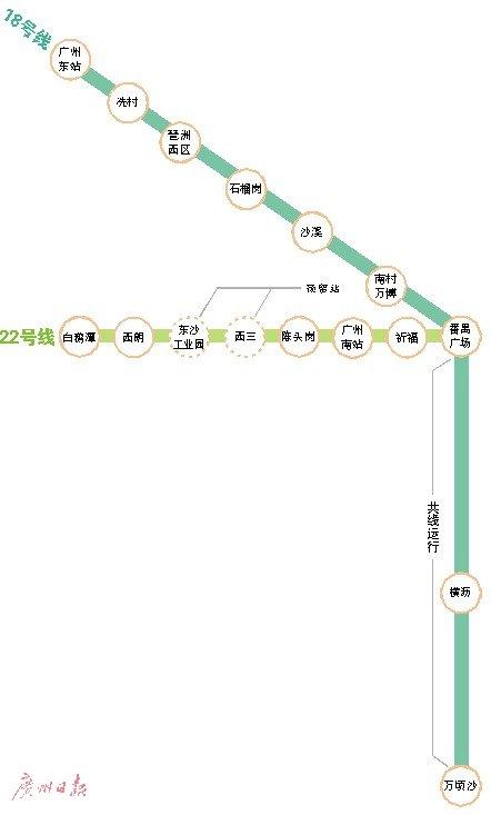 """""""广州南站直达南沙地铁或2020年开通"""
