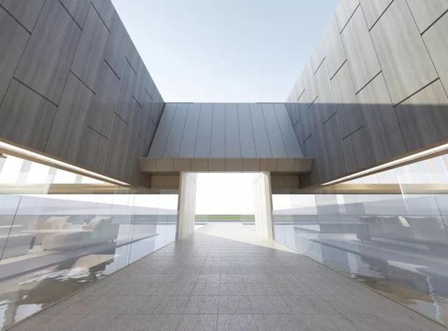 艺术馆的外围以大块玻璃筑成,极具现代感,这也让光线,可以放肆奔跑