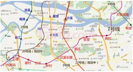 其中广州南站商圈与万博商圈将是最大受益区域.-地铁7号线年内通图片