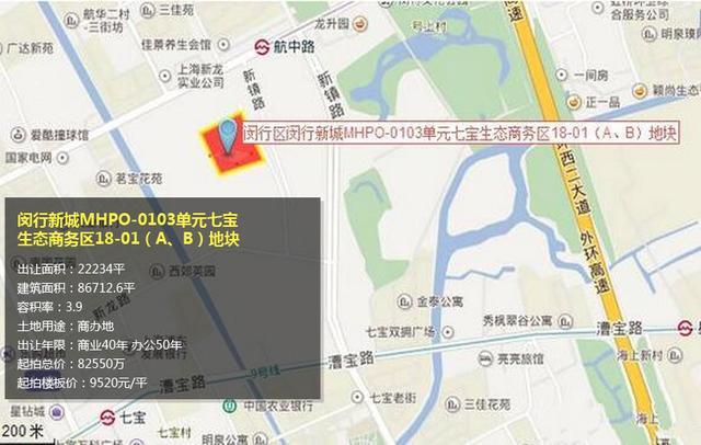 溢价170.14% 华发22.3亿夺闵行七宝8.7万方商办地