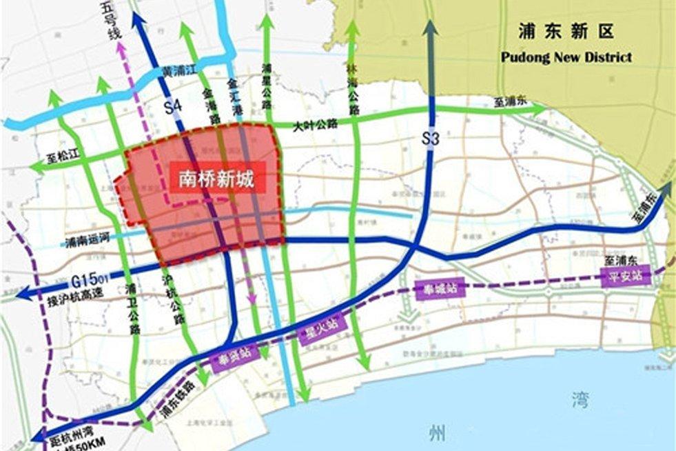 """南桥新城是上海市""""十二五""""期间重点推进建设的三大新城之一,以2.53平方公里""""上海之鱼""""景观湖为城市核心,今后将作为奉贤区的政治、经济、文化中心,成为上海杭州湾北岸地区的综合性服务型核心新城。"""