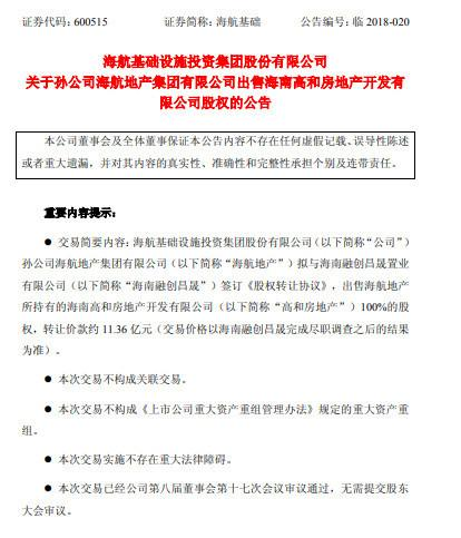 孙宏斌再接盘 海航近20亿元出售旗下两公司予融创