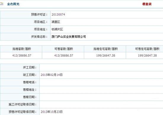金色阳光:199套房源获批 26900元/平起