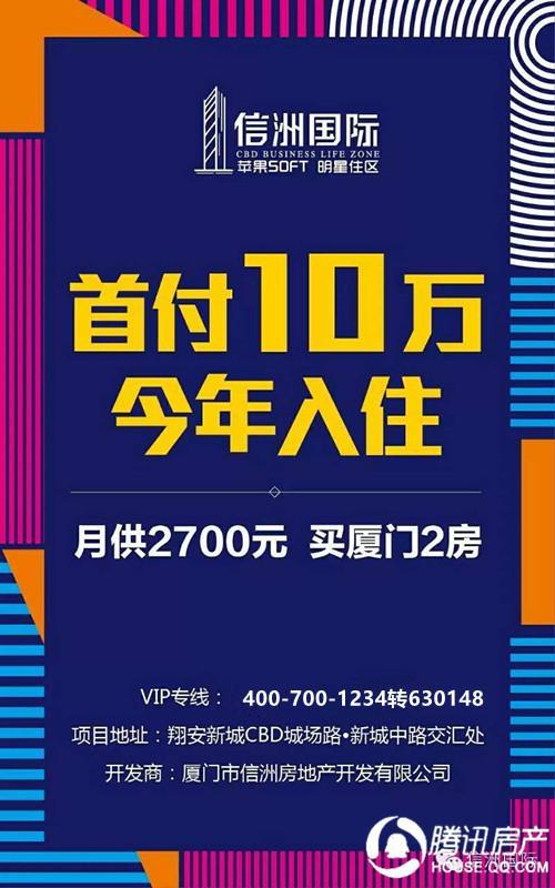 信洲国际:翔安40平精装SOHO 仅需14500元/平