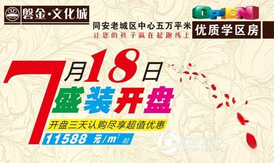 磐金文化城:中心学区房7.18开盘 11588元/平起