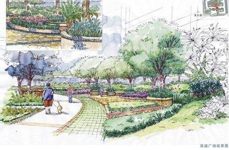 地中海中庭园林手绘稿,呼吸清新自然气
