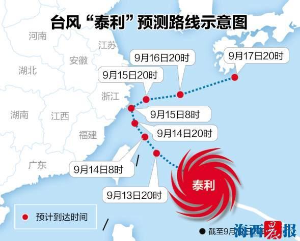 """台风""""泰利""""或在闽北一带登陆 厦门启动4级应急响应"""