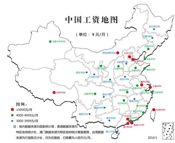 全国工资地图,北京7100元,西安平均3800元,小编真是拖了西安的后腿啊.