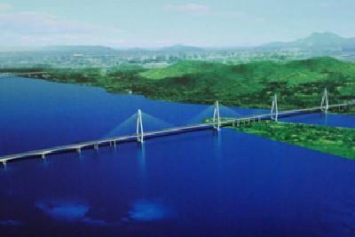 洪鹤大桥俯视图.-洪鹤大桥工程招标完成 将全面进入施工建设阶段