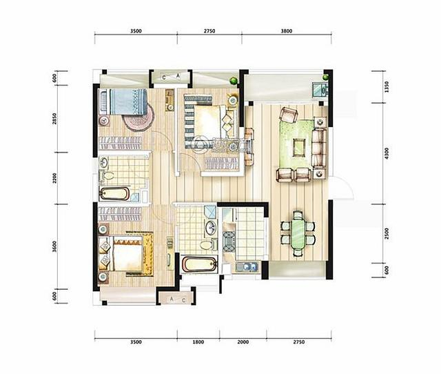 平沙九号96㎡方正实用三房 体贴三口之家刚需必看