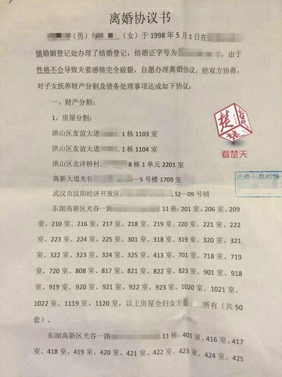 """曝光""""土豪""""离婚协议书:涉及分割房产共63套图片"""