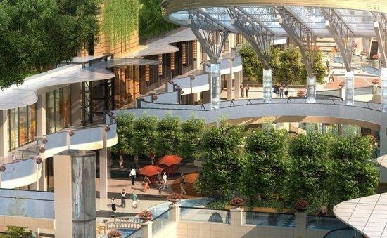 每个下沉式广场均布置植物墙,连廊花槽及庭凳灌木,形成相对独立的图片