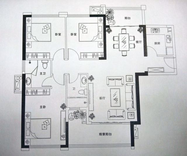 钰海绿洲110㎡ 双阳台设计 百变空间随心演绎