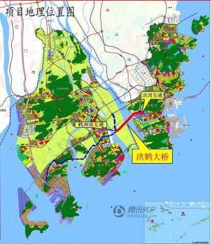 转向西南跨越洪湾水道,穿过横琴岛芒洲规划湿地,跨越磨刀门水道至鹤洲