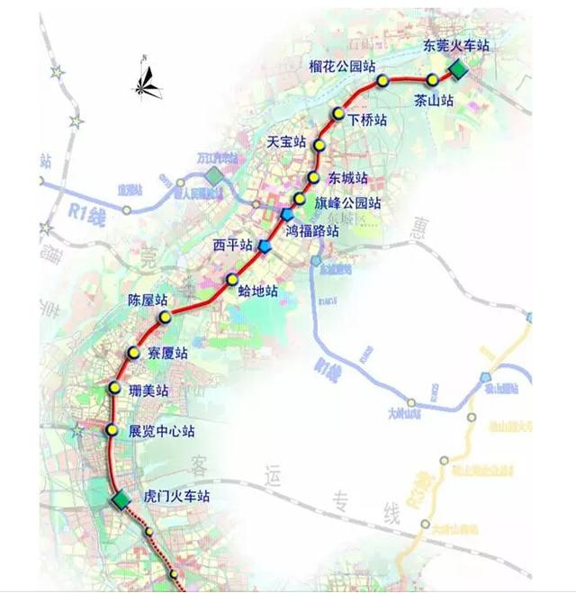 预留与广州,深圳轨道交通衔接的条件,形成覆盖东莞市中心城区及相关镇图片