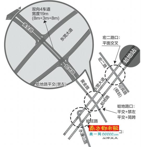 东莞大道蛤地路口将新设十字路口 解决拥堵