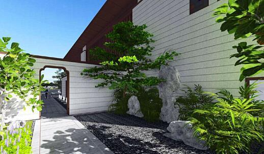 9米高层入户大堂,精选意大利灰石材 高层入户头吸取岭南文化的虾公梁图片
