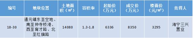 4月首拍!海宁三兴置业3295元/㎡摘得头筹