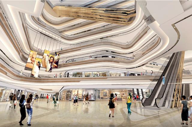 除了中心水景广场湖的意向呈现,杭州大悦城将光的理念臻于极致,不论是55米通高大中庭的自然采光,或者是宛若长虹卧波的夜间照明,融合与交互的理念被充分使用;建筑形态方面,超甲级写字楼、酒店公寓、购物中心等高层建筑似群山抱翠,内向层层退台的灵感则来源于龙井梯田;着色方面,建筑立面的中粮红鲜艳醒目,建筑单体之间20余条城市步道纵横互联,与夜晚绚烂灯光造景交相呼应。