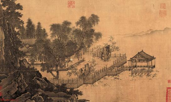 南宋,刘松年《四景山水图卷》之春,故宫博物院藏图片