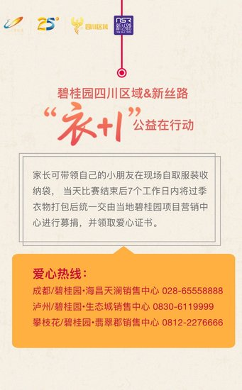 """泸州碧桂园集团携手新丝路,""""衣+1""""公益在行动"""