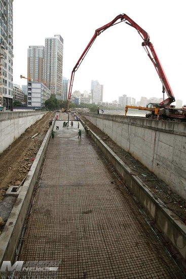 安昌桥下穿隧道船槽出口开始浇注混凝土_频道