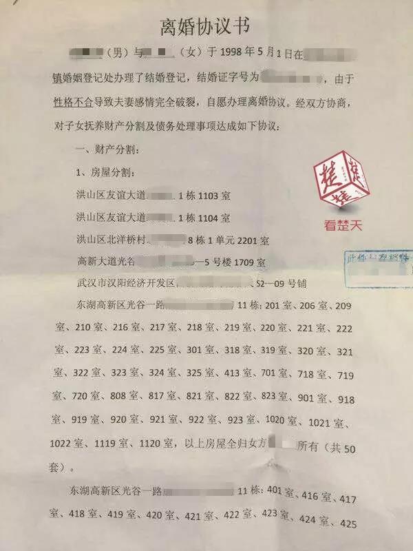"""武汉曝光""""土豪""""离婚协议书:涉及分割房产共63套"""