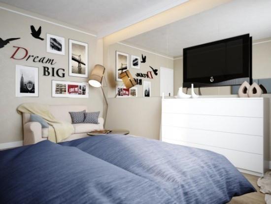 床尾就是简单的电视背景墙,收纳柜就是电视柜~~~-58㎡简约单身公寓