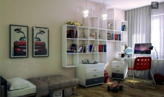 悬挂式书架:在墙面上安置悬挂式书架,节省出低部空间,用来安置