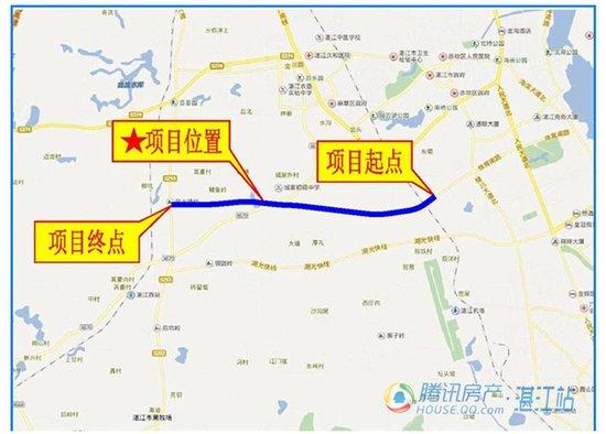 东起北站路,往西跨越黎湛铁路,途经沙坡岭,南溪河,谢家村,郭家村,x670