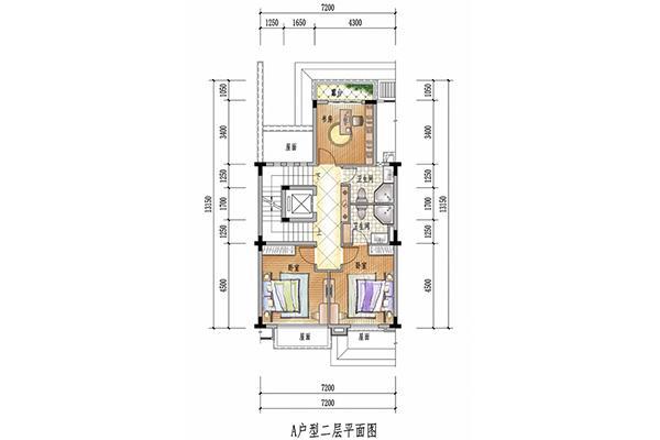 别墅a户型二层平面图