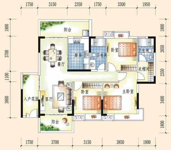 [户型点评]大信时尚家园133㎡三房两厅 鸡肋入户花园